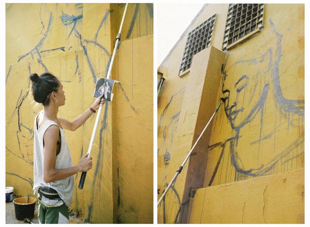 An Wei pintando un mural. Fotos de I, Me, Mine!